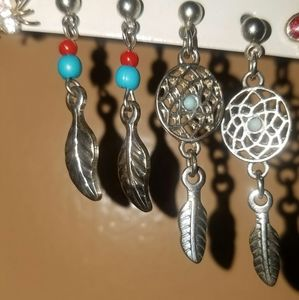 Claire's 2 pairs if dreamcatcher n feather earings